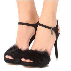 Michael Kors Faye Suede and Rabbit Fur sandal